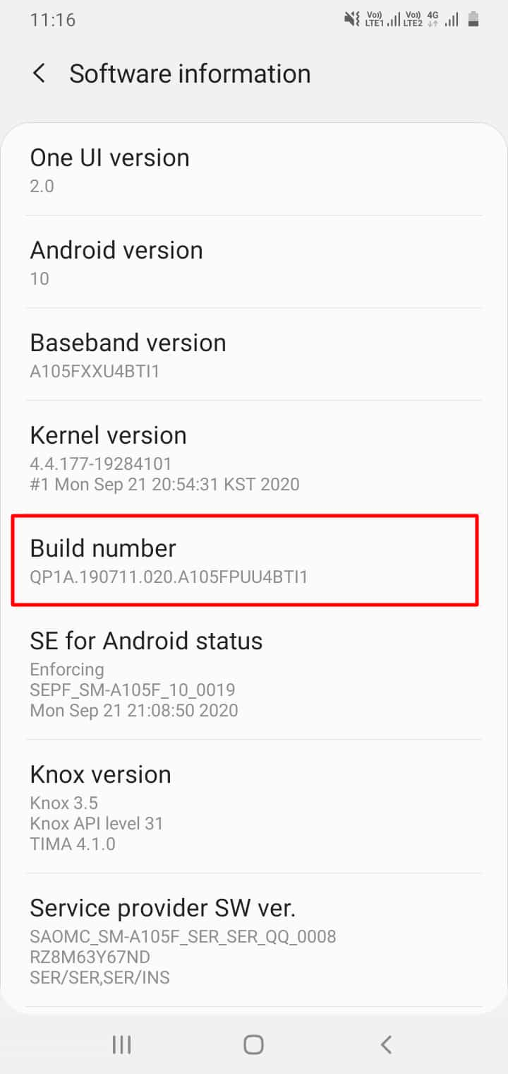 Enable Developer Option Samsung