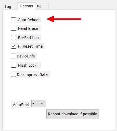 Odin Uncheck Auto Reboot
