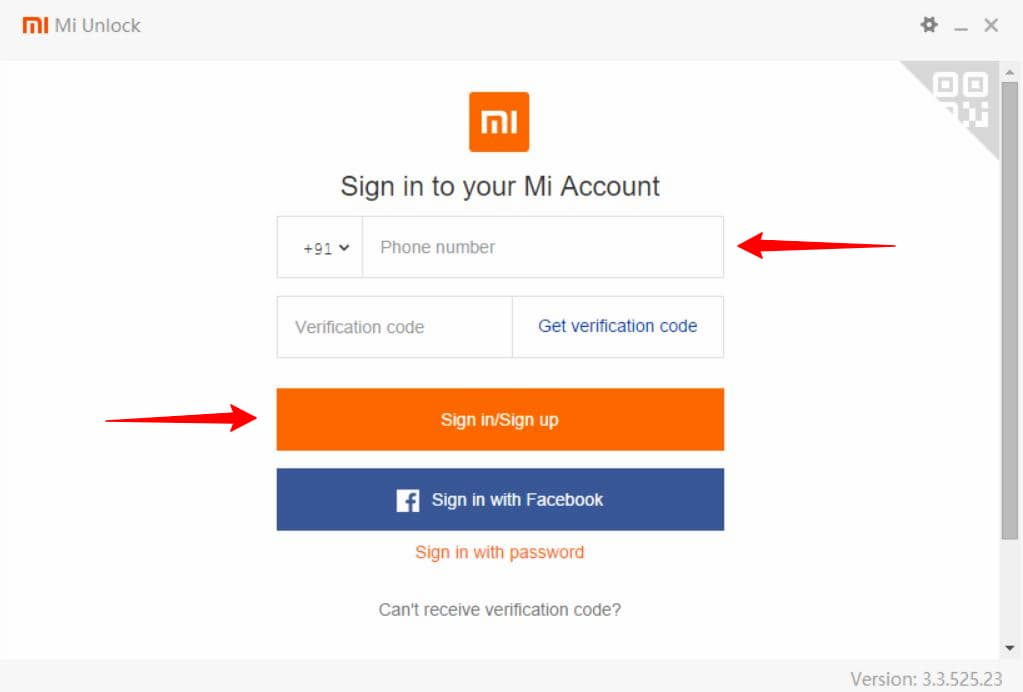 Unofficial Mi unlock tool Sign in