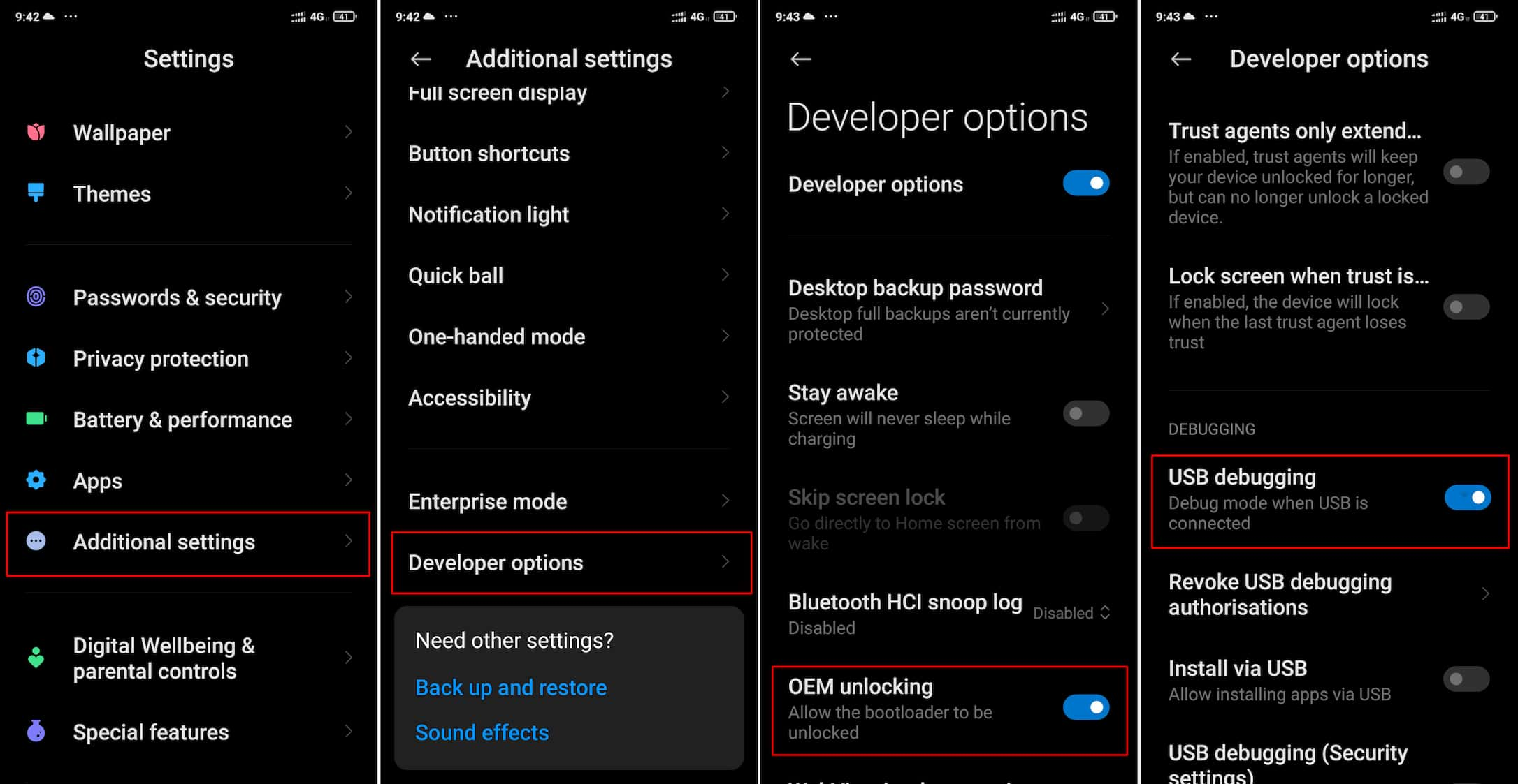Xiaomi Developer Options OEM unlocking USB Debugging