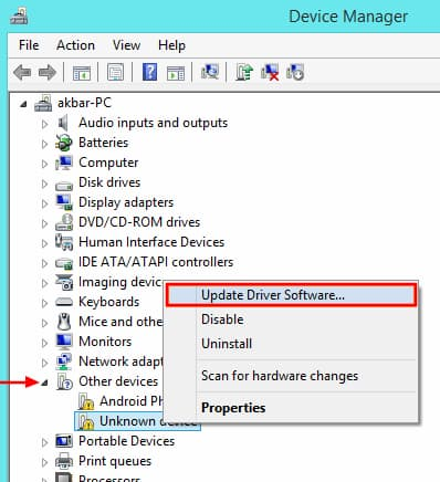 Device Manager Update Driver Software