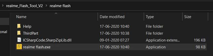 Realme Flash Tool Run exe file
